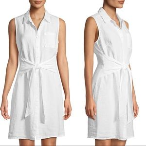 Three Dots Linen White Tie Front Sleeveless Dress